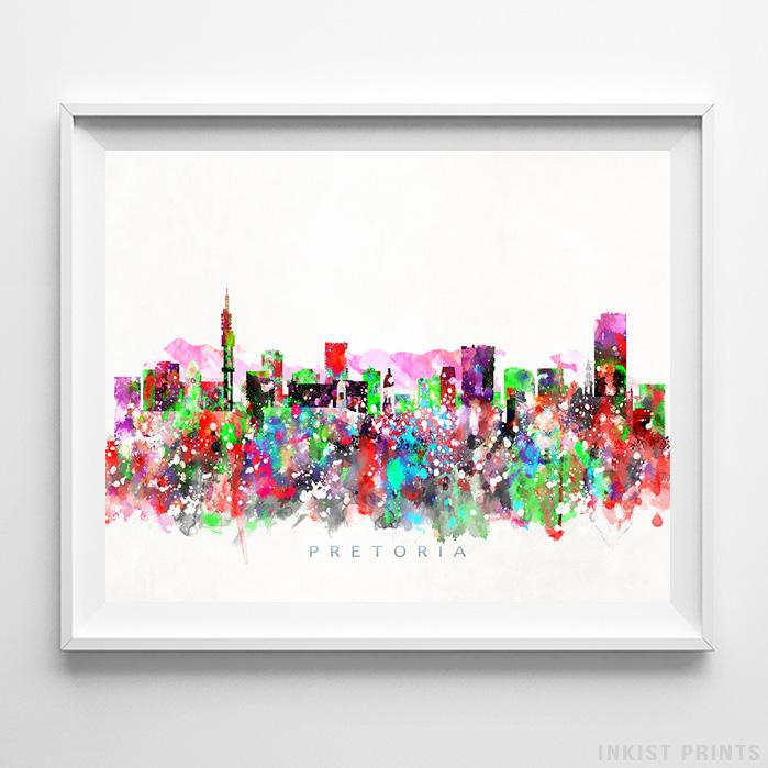 Pretoria, South Africa Skyline Watercolor Print - Inkist Prints
