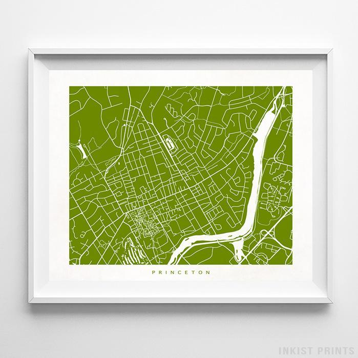 Princeton, New Jersey Street Map Horizontal Print-Poster-Wall_Art-Home_Decor-Inkist_Prints