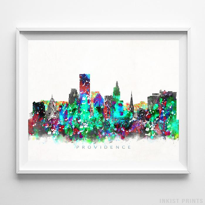 Providence, Rhode Island Skyline Watercolor Print - Inkist Prints