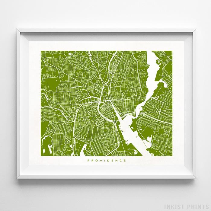 Providence, Rhode Island Street Map Horizontal Print-Poster-Wall_Art-Home_Decor-Inkist_Prints