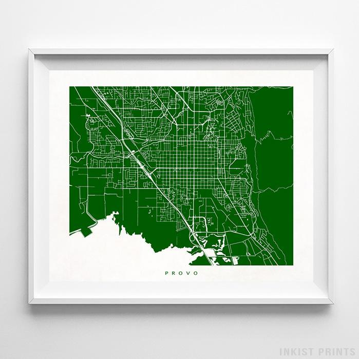 Provo, Utah Street Map Horizontal Print-Poster-Wall_Art-Home_Decor-Inkist_Prints