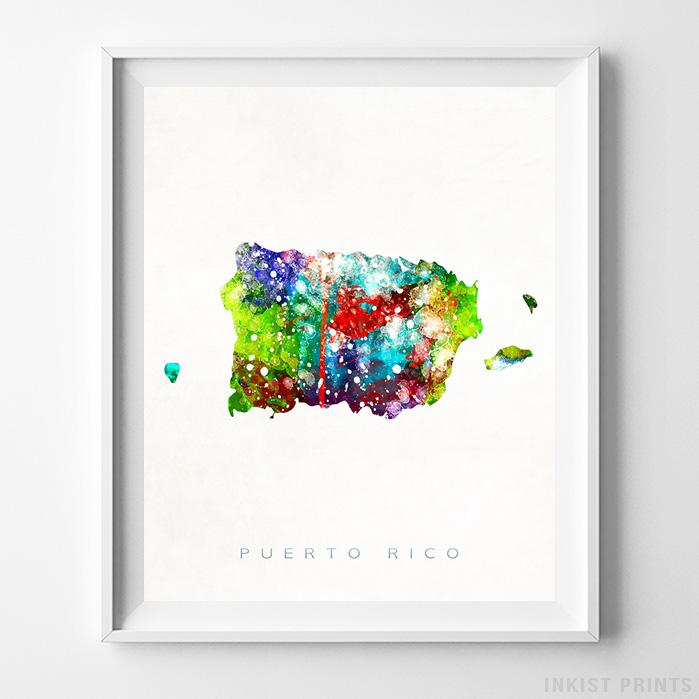 Puerto Rico Watercolor Map Print - Inkist Prints