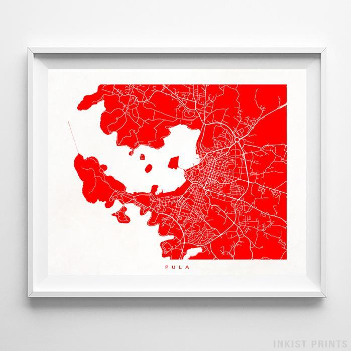 Pula, Croatia Street Map Horizontal Print-Poster-Wall_Art-Home_Decor-Inkist_Prints
