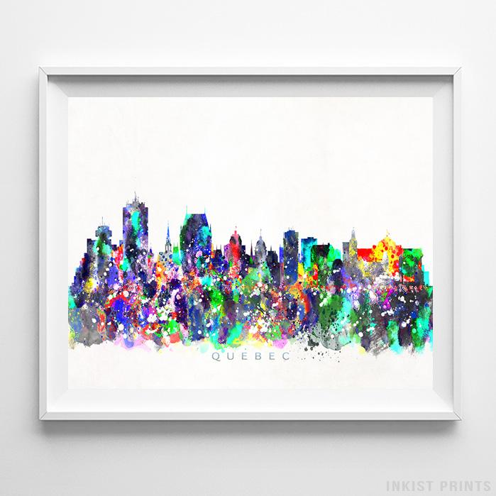 Quebec, Canada Skyline Watercolor Print-Poster-Wall_Art-Home_Decor-Inkist_Prints