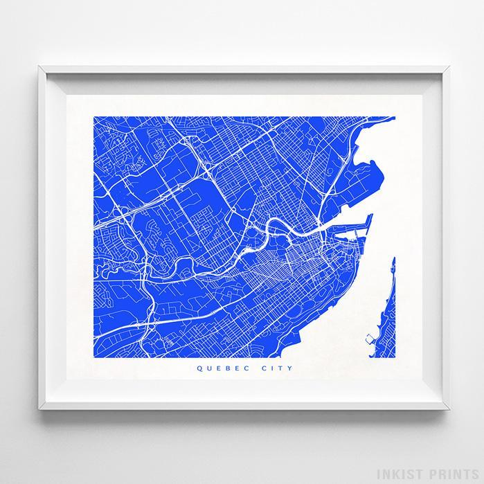 Quebec City, Canada Street Map Horizontal Print-Poster-Wall_Art-Home_Decor-Inkist_Prints