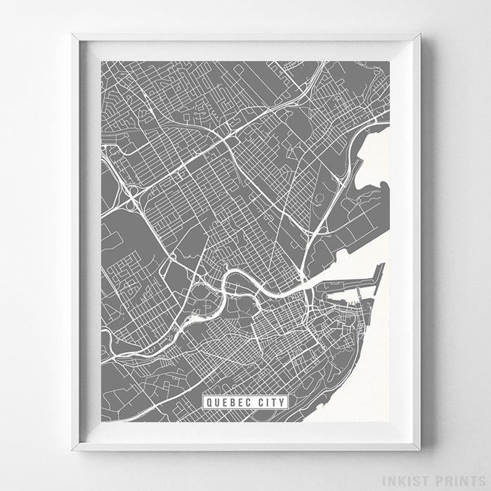 Quebec City, Canada Street Map Vertical Print-Poster-Wall_Art-Home_Decor-Inkist_Prints