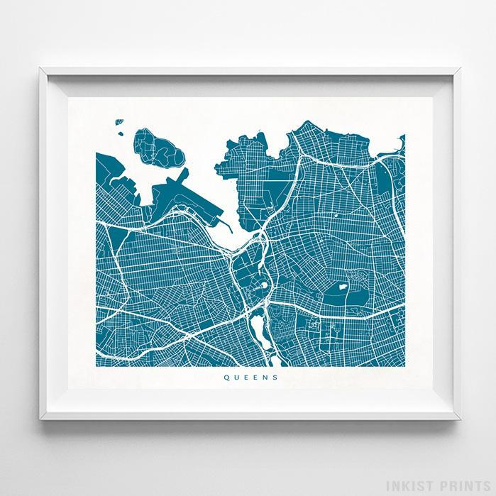 Queens, New York Street Map Horizontal Print-Poster-Wall_Art-Home_Decor-Inkist_Prints