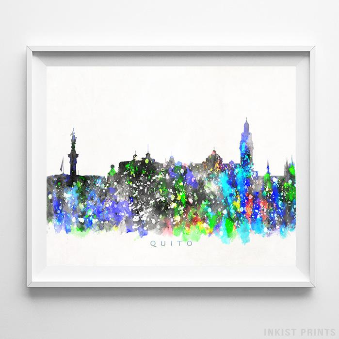 Quito, Ecuador Skyline Watercolor Print-Poster-Wall_Art-Home_Decor-Inkist_Prints