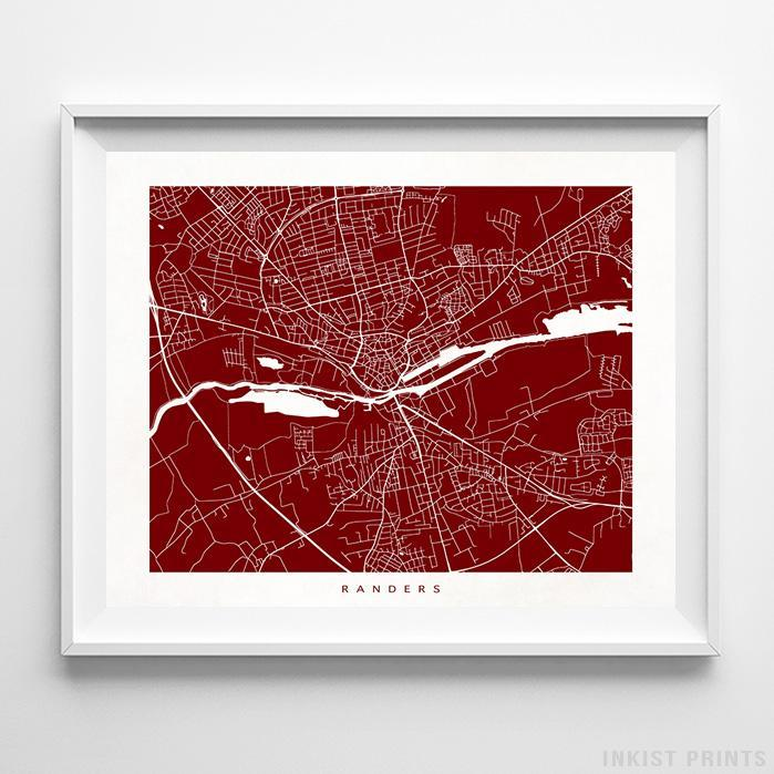 Randers, Denmark Street Map Horizontal Print-Poster-Wall_Art-Home_Decor-Inkist_Prints