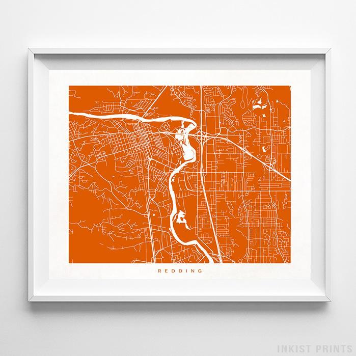 Redding, California Street Map Print - Inkist Prints