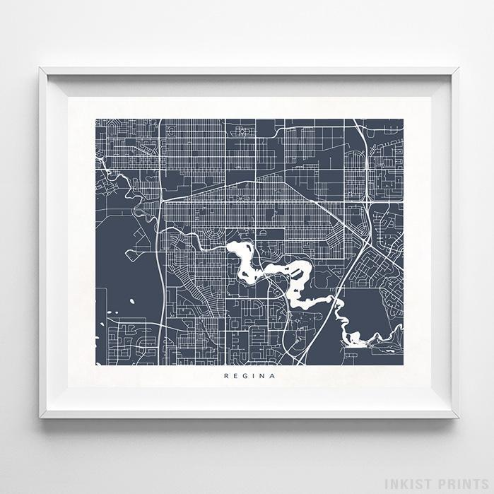 Regina, Canada Street Map Horizontal Print-Poster-Wall_Art-Home_Decor-Inkist_Prints