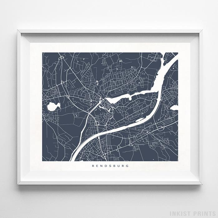 Rendsburg, Germany Street Map Horizontal Print-Poster-Wall_Art-Home_Decor-Inkist_Prints
