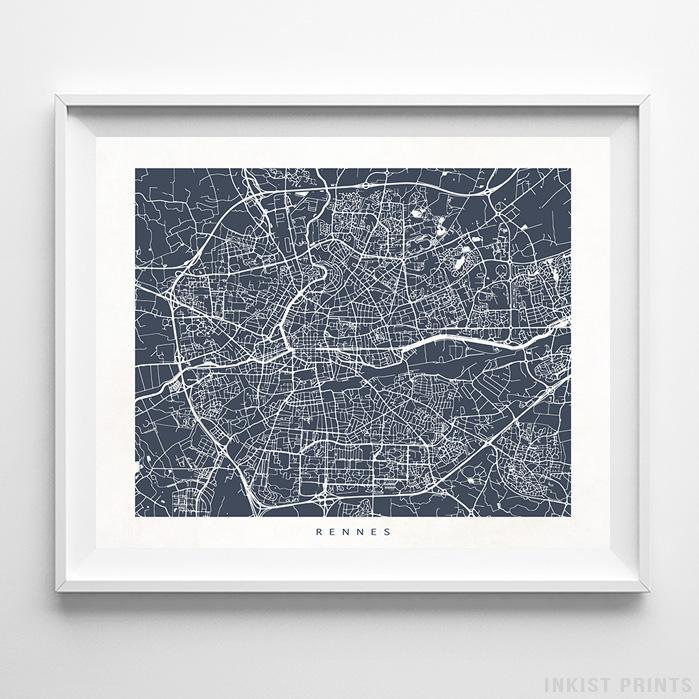 Rennes France Street Map Print Wall Poster Inkist Prints