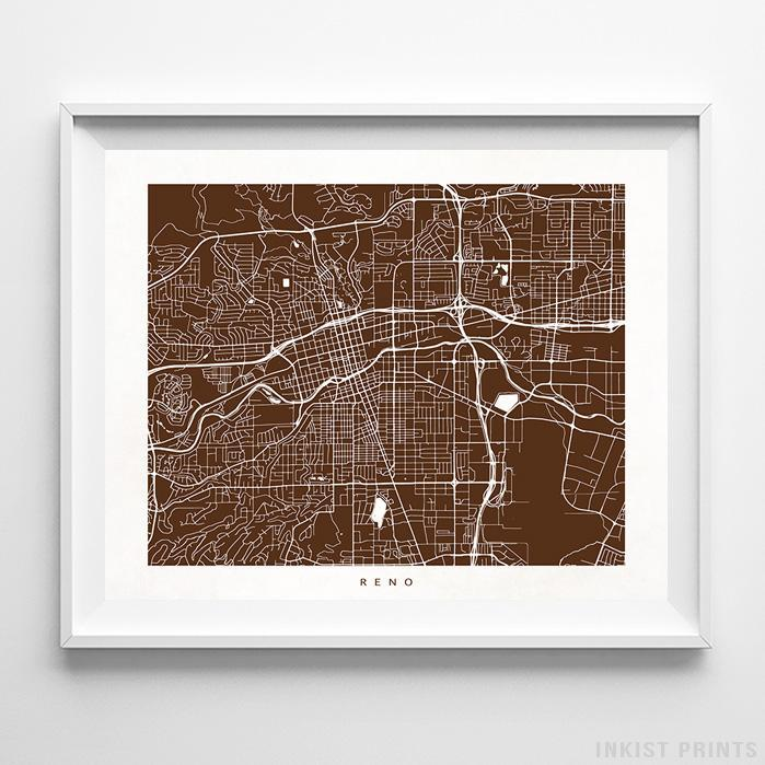 Reno, Nevada Street Map Horizontal Print-Poster-Wall_Art-Home_Decor-Inkist_Prints