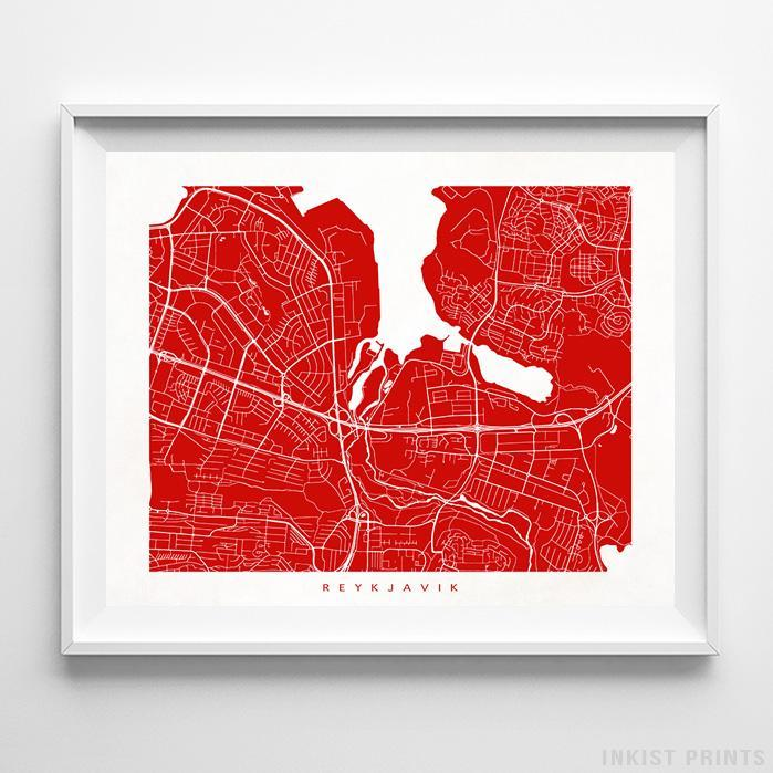 Reykjavik, Iceland Street Map Horizontal Print-Poster-Wall_Art-Home_Decor-Inkist_Prints