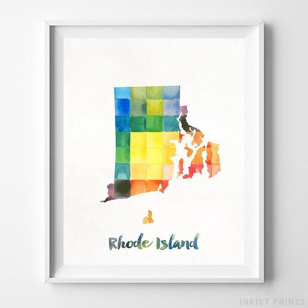 Rhode Island Watercolor Map Print - Inkist Prints