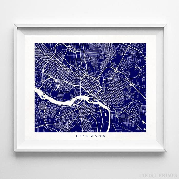 Richmond, Virginia Street Map Print - Inkist Prints