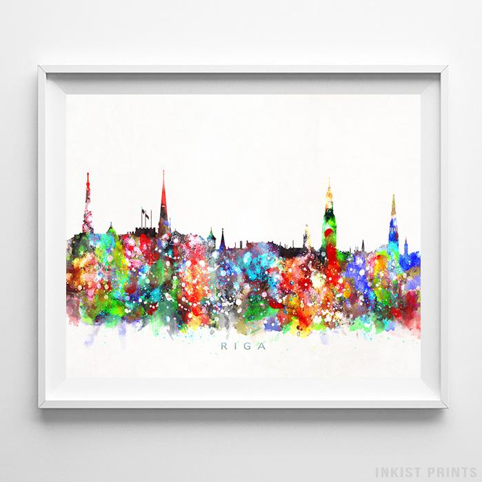 Riga, Latvia Skyline Watercolor Print-Poster-Wall_Art-Home_Decor-Inkist_Prints