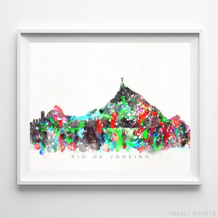 Rio De Janeiro, Brazil Skyline Watercolor Print-Poster-Wall_Art-Home_Decor-Inkist_Prints