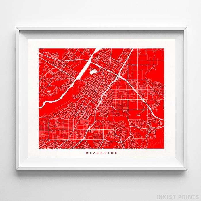 Riverside, California Street Map Horizontal Print-Poster-Wall_Art-Home_Decor-Inkist_Prints
