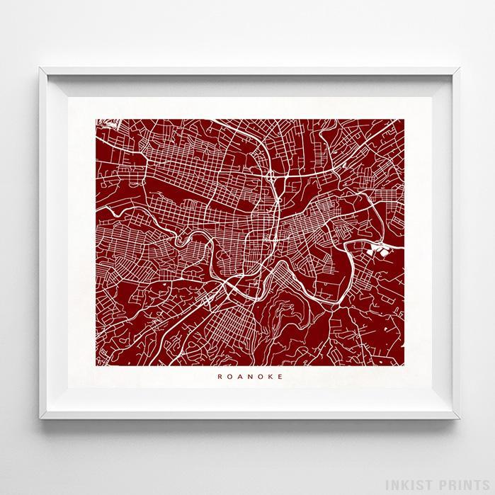 Roanoke, Virginia Street Map Horizontal Print-Poster-Wall_Art-Home_Decor-Inkist_Prints