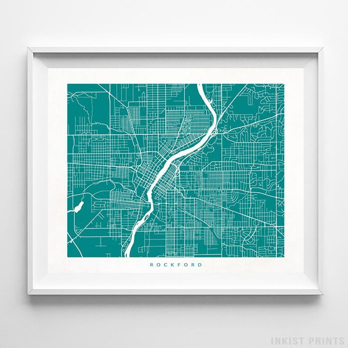 Rockford, Illinois Street Map Horizontal Print-Poster-Wall_Art-Home_Decor-Inkist_Prints