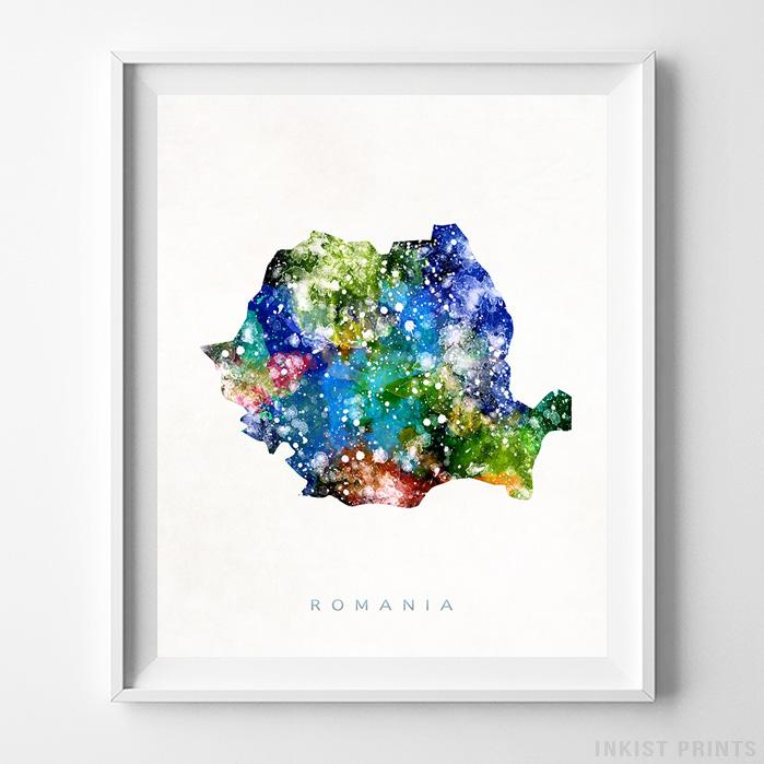 Romania Watercolor Map Print-Poster-Wall_Art-Home_Decor-Inkist_Prints