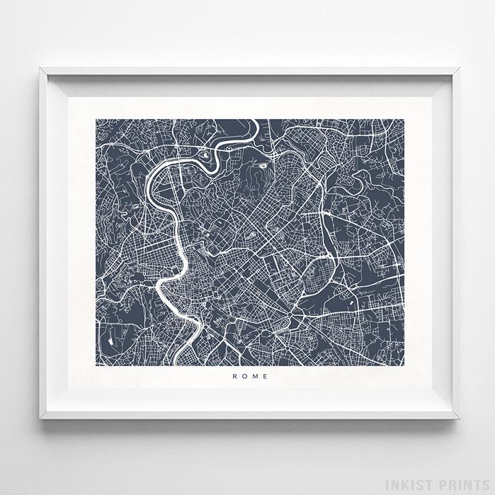 Rome, Italy Street Map Horizontal Print-Poster-Wall_Art-Home_Decor-Inkist_Prints