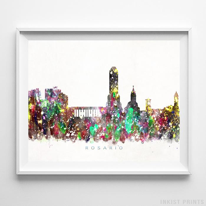 Rosario, Argentina Skyline Watercolor Print - Inkist Prints