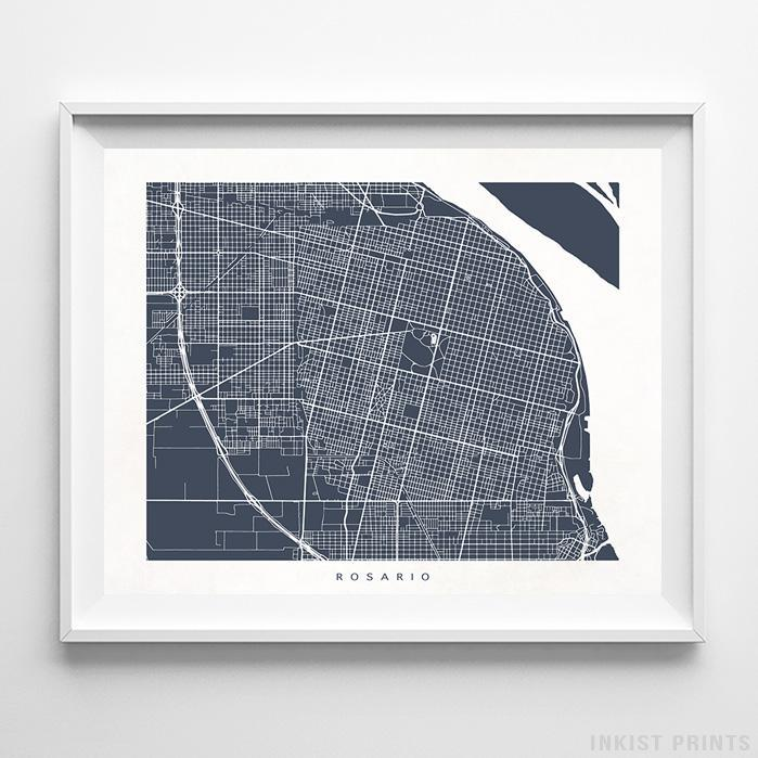 Rosario, Argentina Street Map Horizontal Print-Poster-Wall_Art-Home_Decor-Inkist_Prints