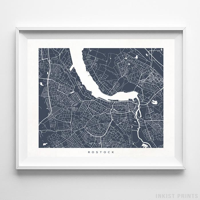 Rostock, Germany Street Map Horizontal Print-Poster-Wall_Art-Home_Decor-Inkist_Prints