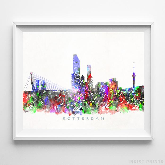 Rotterdam, Netherlands Skyline Watercolor Print-Poster-Wall_Art-Home_Decor-Inkist_Prints