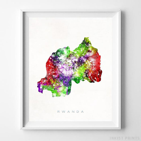 Rwanda Watercolor Map Print-Poster-Wall_Art-Home_Decor-Inkist_Prints
