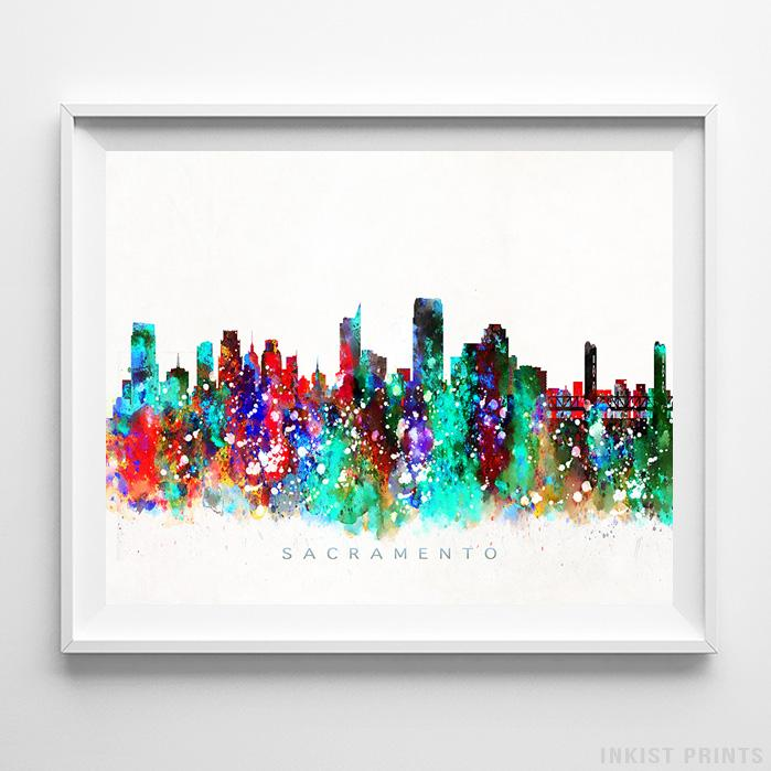 Sacramento, California Skyline Watercolor Print-Poster-Wall_Art-Home_Decor-Inkist_Prints