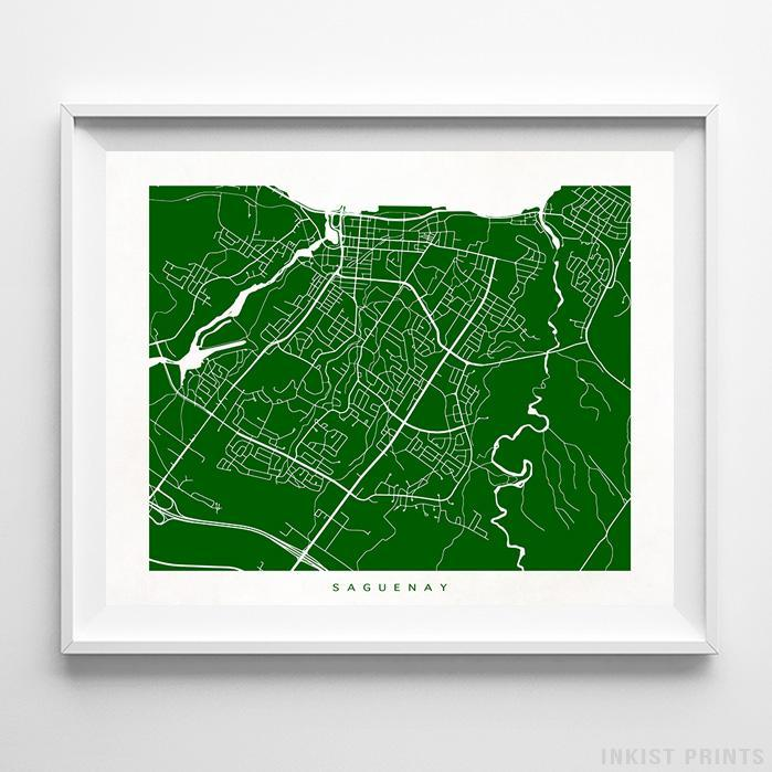 Saguenay, Canada Street Map Horizontal Print-Poster-Wall_Art-Home_Decor-Inkist_Prints