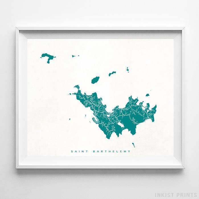 Saint Barthelemy Street Map Horizontal Print-Poster-Wall_Art-Home_Decor-Inkist_Prints