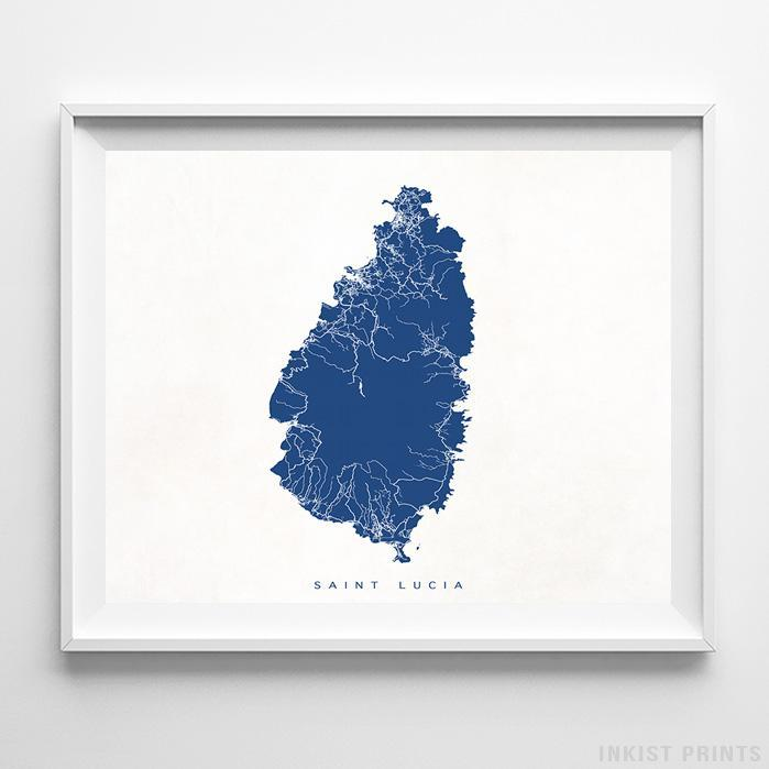 Saint Lucia Street Map Horizontal Print-Poster-Wall_Art-Home_Decor-Inkist_Prints