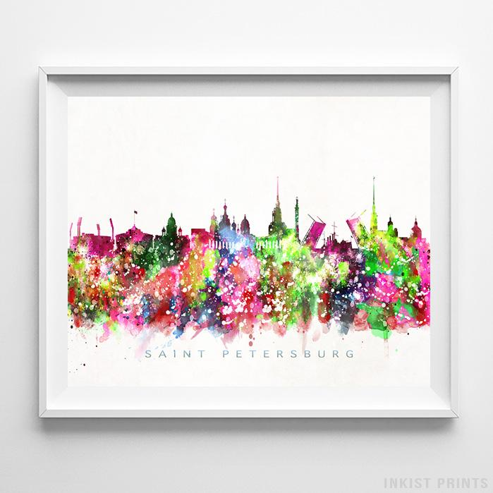 Saint Petersburg, Russia Skyline Watercolor Print-Poster-Wall_Art-Home_Decor-Inkist_Prints