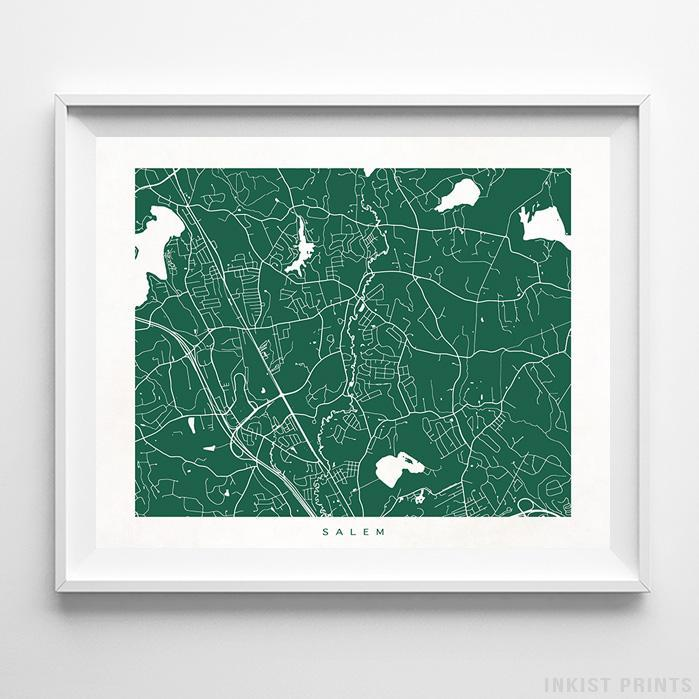 Salem, New Hampshire Street Map Horizontal Print-Poster-Wall_Art-Home_Decor-Inkist_Prints