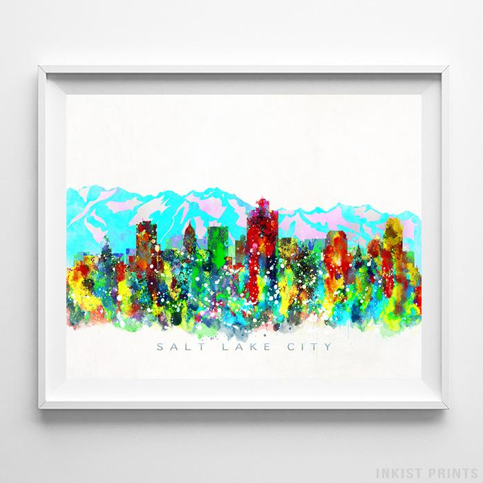 Salt Lake City, Utah Skyline Watercolor Print - Inkist Prints