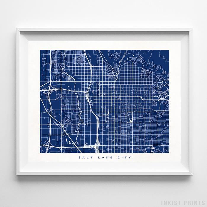 Salt Lake City, Utah Street Map Horizontal Print-Poster-Wall_Art-Home_Decor-Inkist_Prints