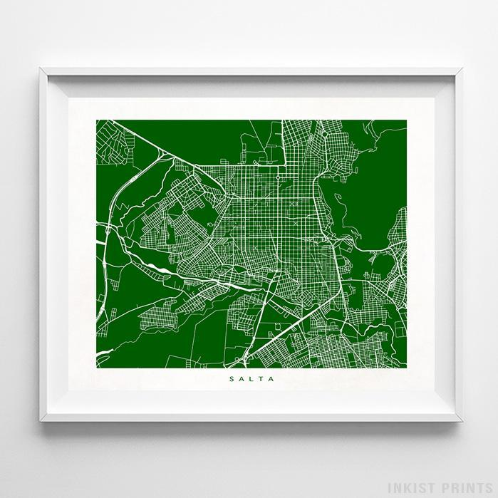 Salta, Argentina Street Map Horizontal Print-Poster-Wall_Art-Home_Decor-Inkist_Prints