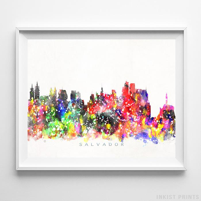 Salvador, Brazil Skyline Watercolor Print - Inkist Prints