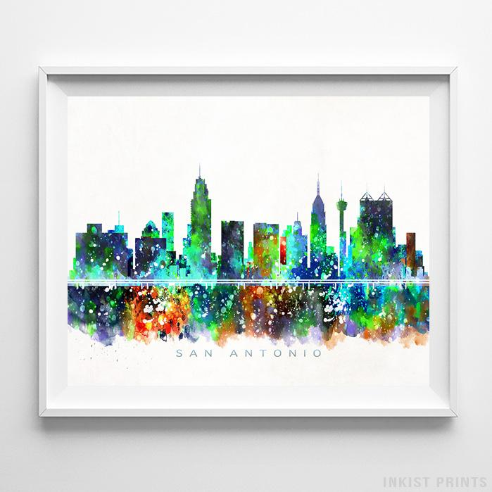 San Antonio, Texas Skyline Watercolor Print-Poster-Wall_Art-Home_Decor-Inkist_Prints
