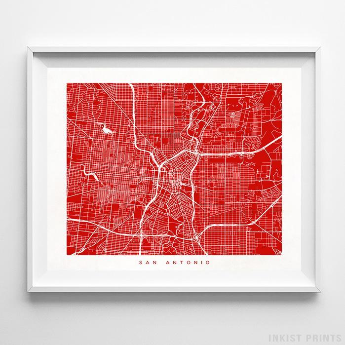 San Antonio, Texas Street Map Horizontal Print-Poster-Wall_Art-Home_Decor-Inkist_Prints