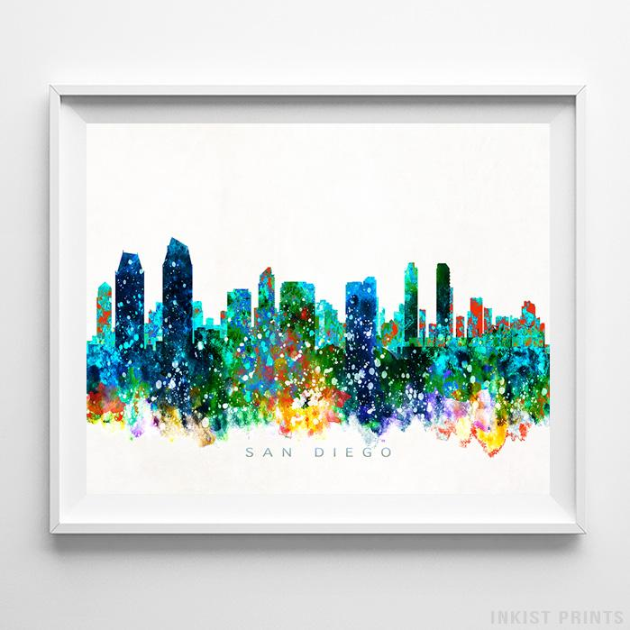 San Diego, California Skyline Watercolor Print - Inkist Prints