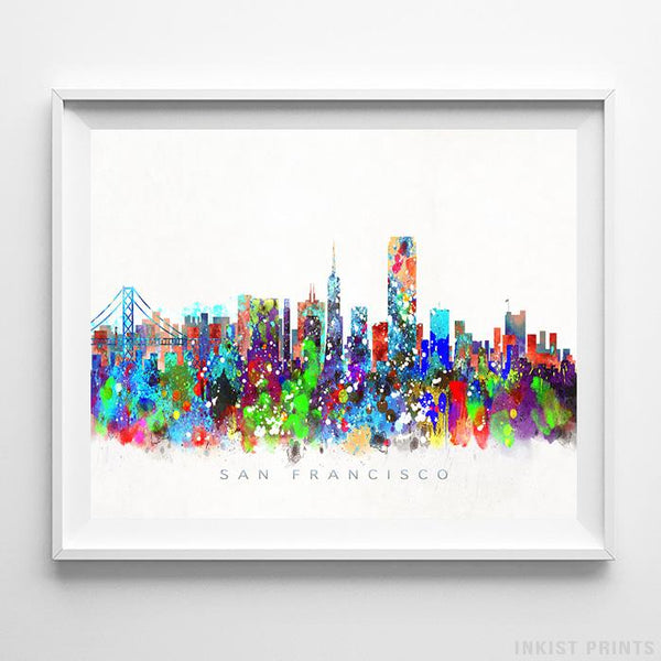 San Francisco, California Skyline Watercolor Print Wall Art Poster by Inkist Prints
