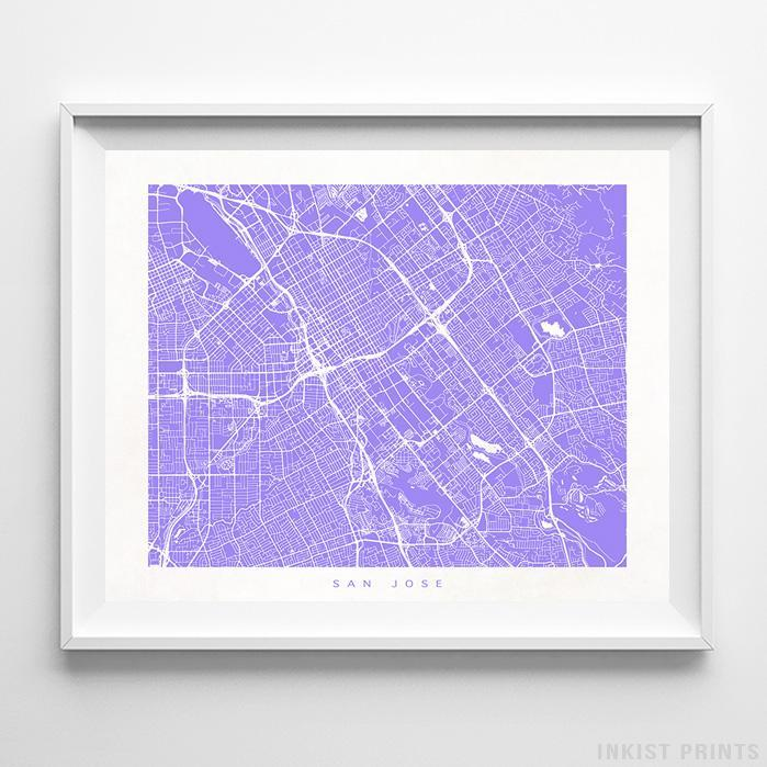 San Jose, California Street Map Horizontal Print-Poster-Wall_Art-Home_Decor-Inkist_Prints
