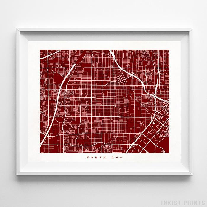 Santa Ana, California Street Map Horizontal Print-Poster-Wall_Art-Home_Decor-Inkist_Prints