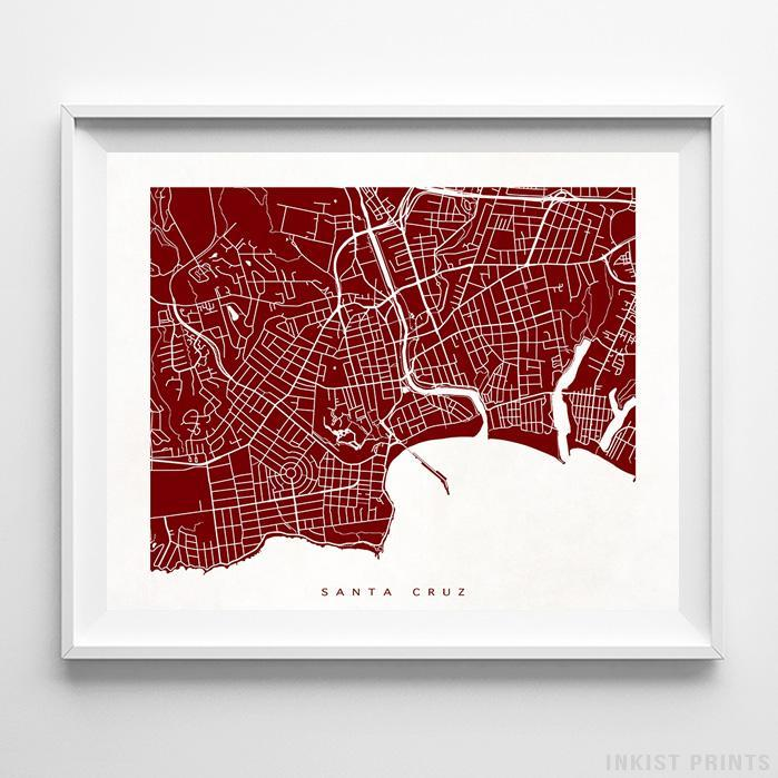 Santa Cruz, California Street Map Horizontal Print-Poster-Wall_Art-Home_Decor-Inkist_Prints